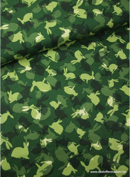 rabbits green - sturdy cotton S