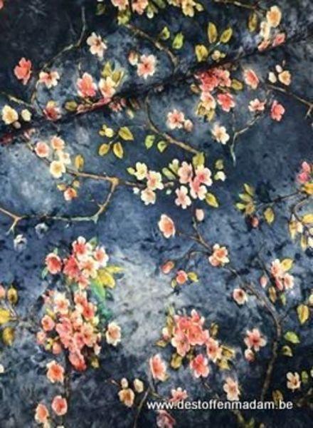 blue pink flower - velvet
