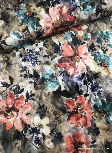roze bloemen - velvet S