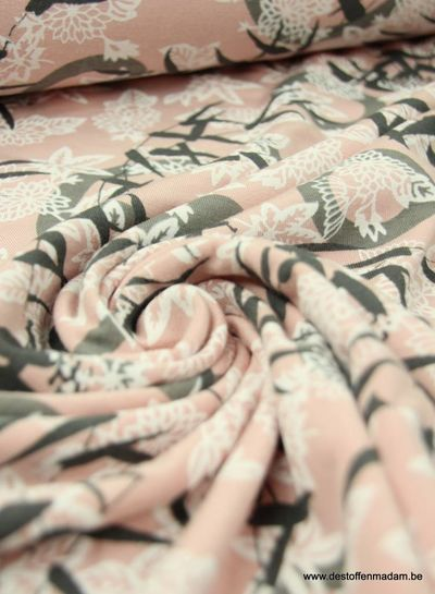 Japenees print pink - viscose jersey