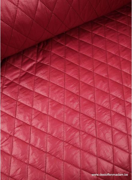 raspberry quilted coat fabric S