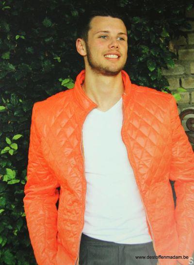 orange quilted coat fabric S
