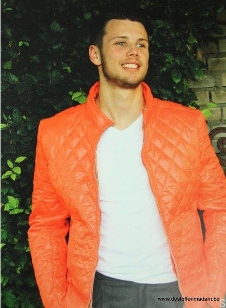 orange quilted coat fabric