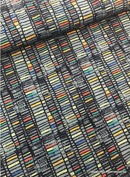 gekleurde blokjes blauw - tricot