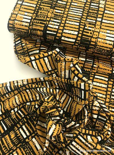 gekleurde blokjes oker - tricot
