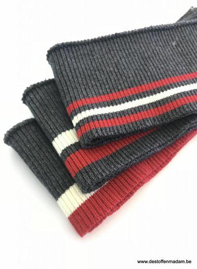 dikke strepen rood/wit/grijs - voorgeknipte boordstof