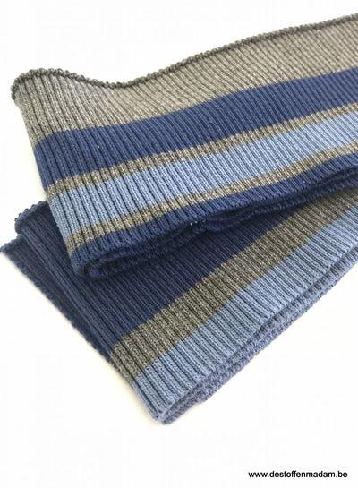 dikke strepen blauw/donkergrijs - voorgeknipte boordstof