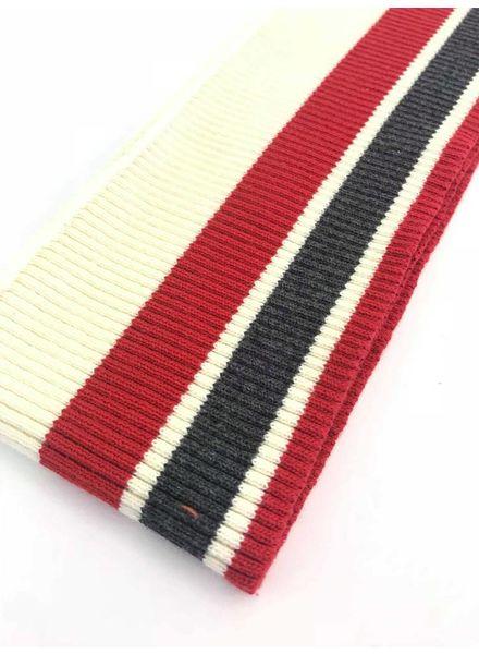 dikke strepen rood/grijs/beige -voorgeknipte boordstof