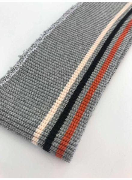 3 dunne strepen roest/zwart/roze - voorgeknipte boordstof
