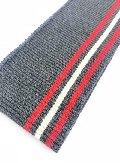 3 thin stripes red/white/grey - ribbing