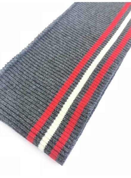 3 dunne strepen rood/wit/grijs - voorgeknipte boordstof