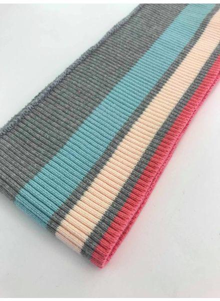 dikke strepen munt/roze - voorgeknipte boordstof