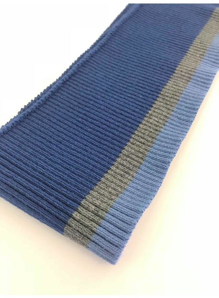 dunne strepen blauw/donkergrijs - voorgeknipte boordstof