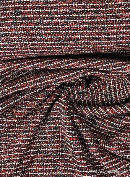 red  boucle - jacquard coat fabric