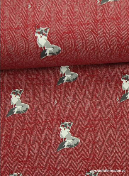 burgundy sweater fabric with foxes and tweed background