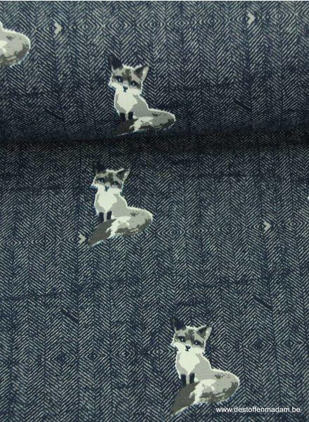 marineblauwe sweaterstof met vosjes op tweed actergrond
