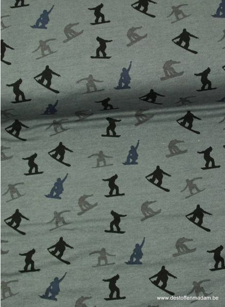 grey sweater fabric with snowboarders