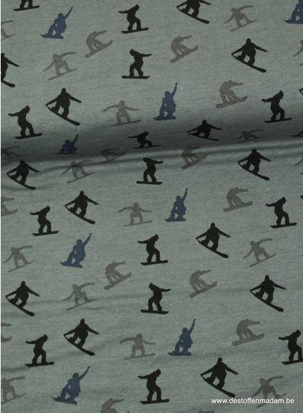 grijze sweater met snowboard silhouettes