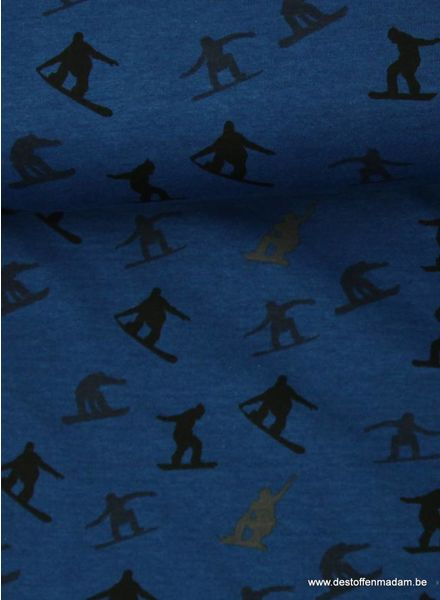 cobalt blue sweater fabric with snowboarders