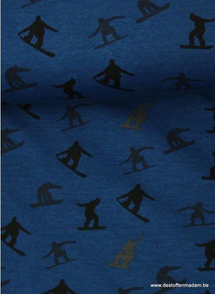 kobaltblauwe met snowboard silhouettes