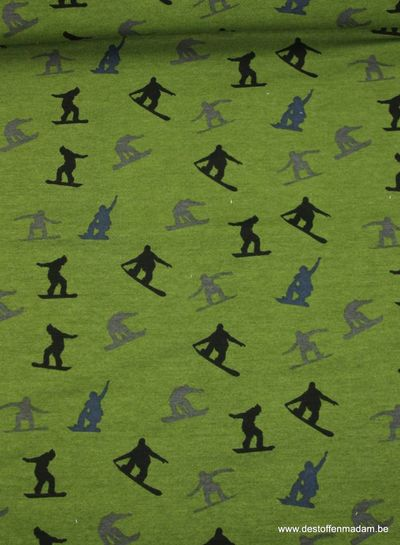 army green sweater fabric with snowboarders
