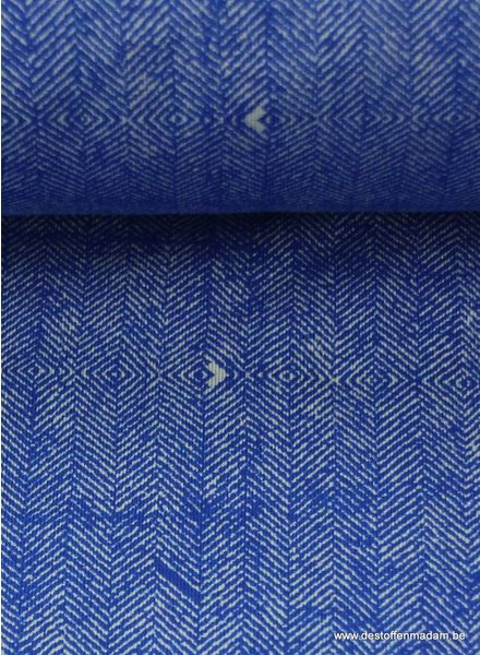 cobalt blue sweater fabric with tweed print