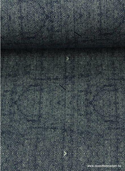 marineblauwe sweater met tweed print