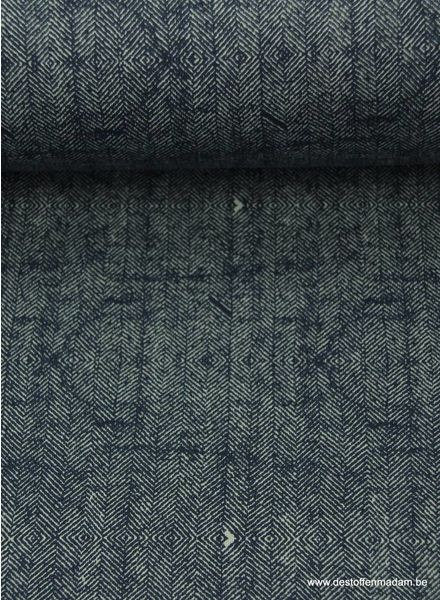 navy blue sweater fabric with tweed print S