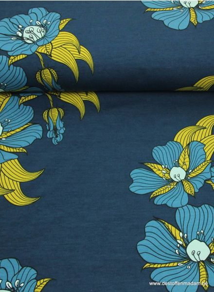 beautiful large flowers on a petrol blue background - sweater