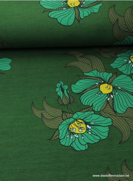 mooie grote bloemen op groene achtergrond - sweater