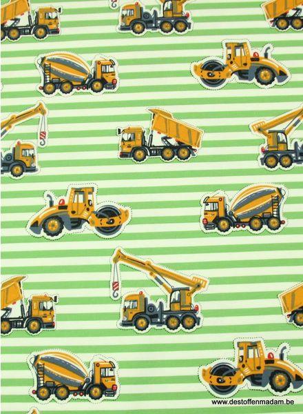 bouwvoertuigen groen tricot