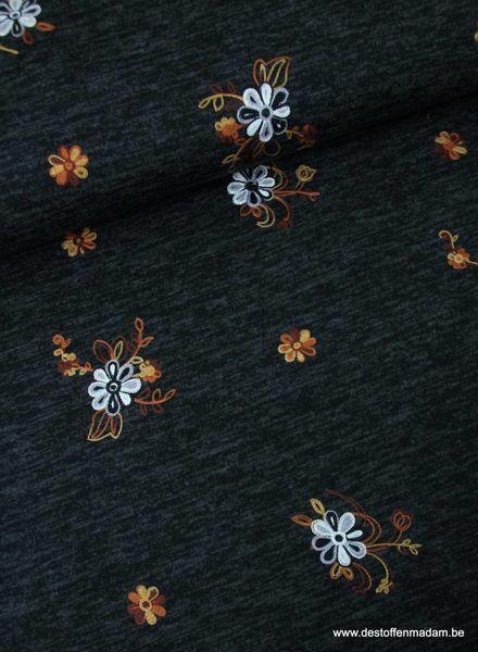 zwart - gebreide stof met borduursel