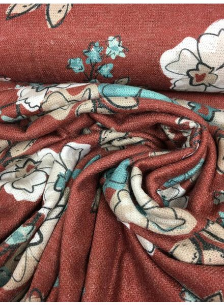 knit viscose with flowers (marsala) - TOP quality