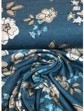 knit viscose with flowers (blue) - TOP quality
