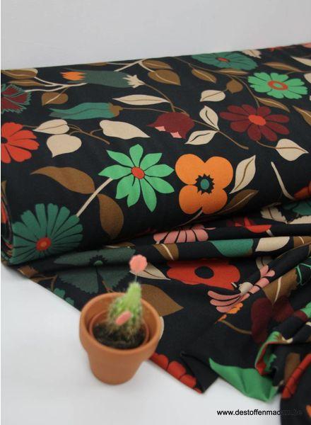 retro bloemen - soepelvallende rekbare damesstof