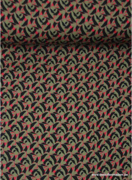 grafische print khaki - viscose - Italiaanse kwaliteit