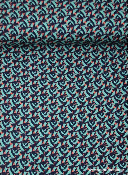 grafische print turquoise - viscose - Italiaanse kwaliteit