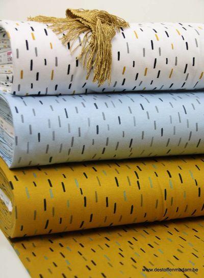 blauw kleine streepjes oker - tricot