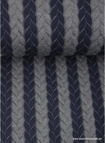 cable textured knit fabric - navy