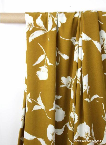 autumn flowers ochre - stretch polyester fabric