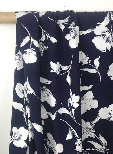 herfst bloemen marine  - rekbare soepelvallende stof S
