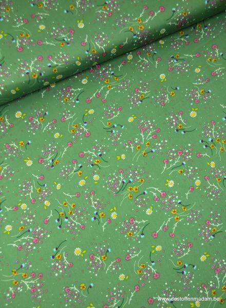 groen bloemetjes - satijn S