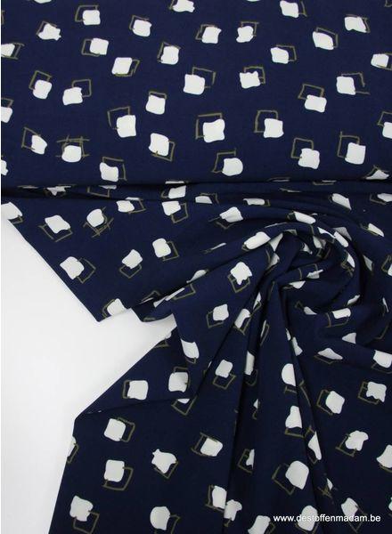 blue squares - viscose crepe de luxe