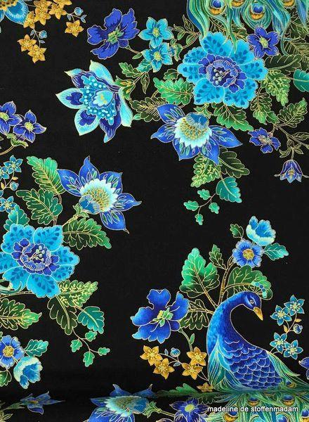 Timeless Treasures Fabrics beautiful peacock coton
