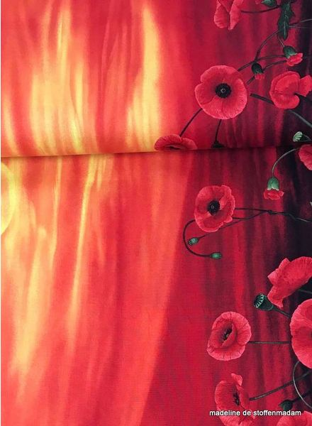 Timeless Treasures Fabrics poppy border cotton