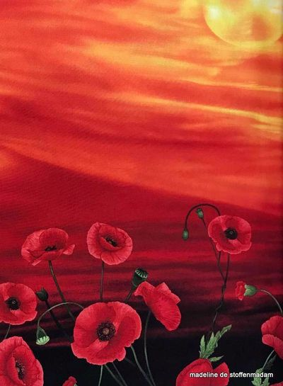 Timeless Treasures Fabrics poppy paneel katoen