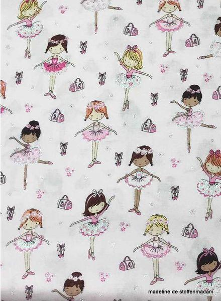 Timeless Treasures Fabrics Glitter ballerinas roze - katoen
