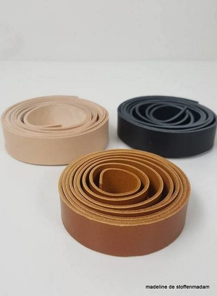 cognac leather handles - 19 mm