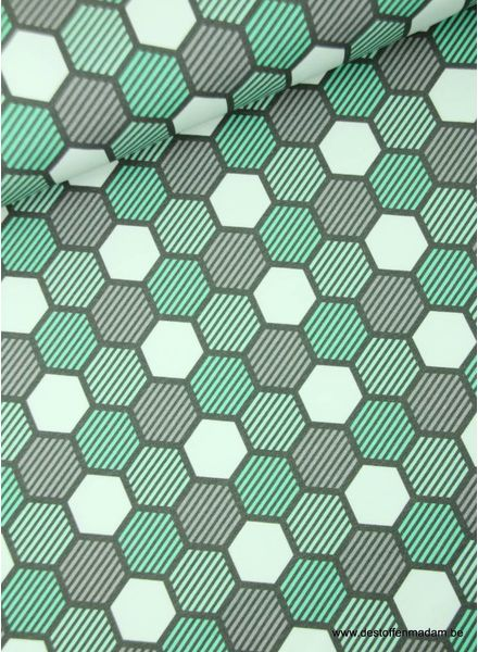 hexagon crazy shapes - mint - french terry S
