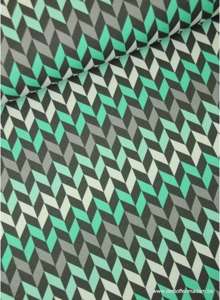 chevron crazy shapes - mint - french terry